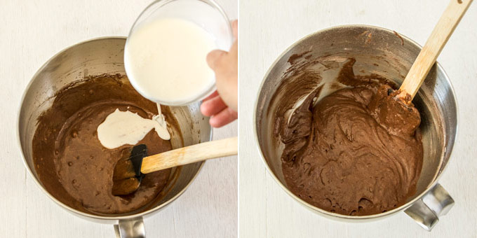 Two images side by side. One show milk being poured into chocolate batter, the other shows it all mixed together with a spatula sticking out.