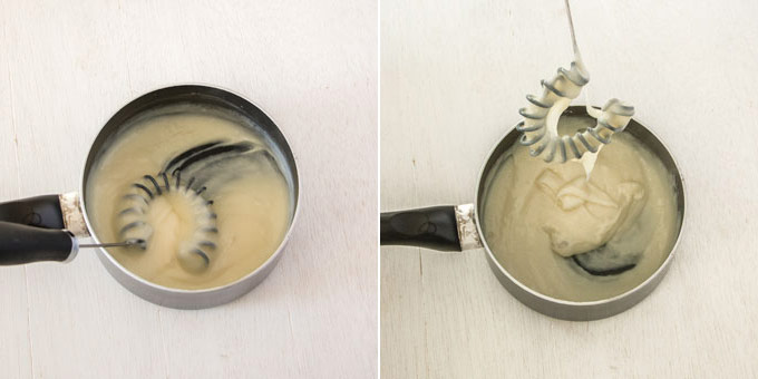Two images side by side. Shows a milk and flour paste with a whisk in it, before and after it has thickened
