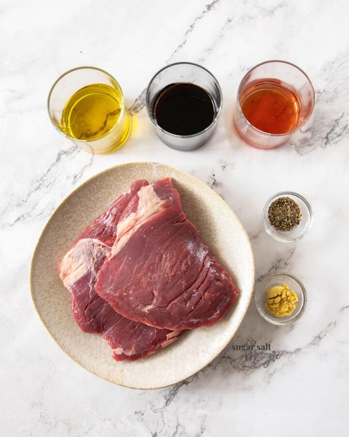 Ingredients for steak marinade.