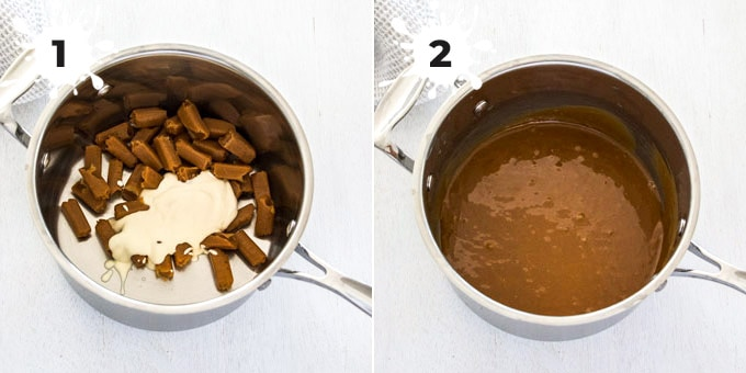 Caramel candies and cream in a saucepan being turned into sauce