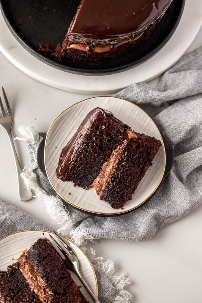 A birdseye view of a slice of chocolate cake on a plate