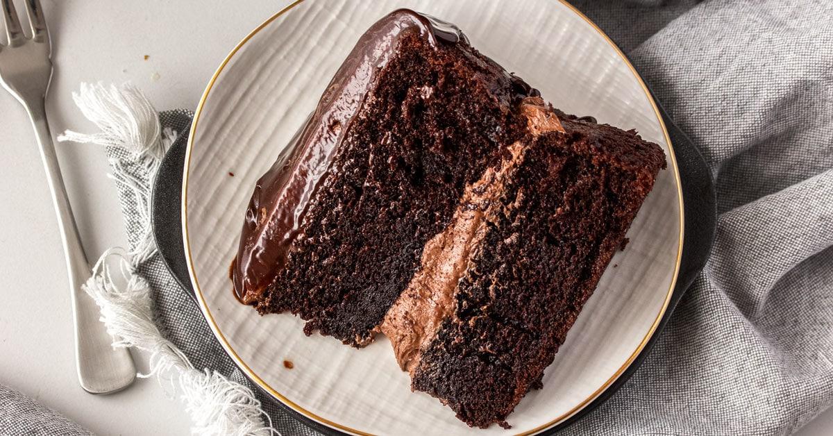 A birdseye view of a slice of chocolate cake