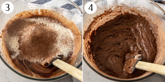 Adding flour and cocoa to brownie batter