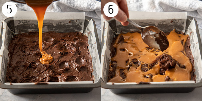 Topping brownie batter in a baking tin with caramel