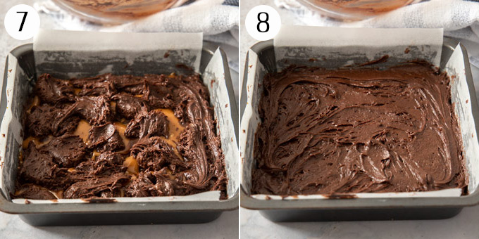 Spreading a layer of brownie batter over a layer of caramel