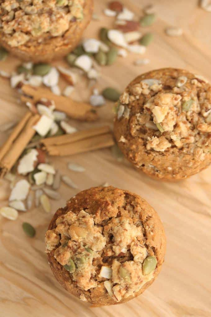 Trail Mix Cinnamon Muffins by Sugar Salt Magic. A healthier version which are tender and moist and all natural