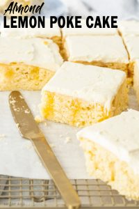 This Almond Lemon Poke Cake, filled with lemon curd and topped with an easy ricotta cream topping, is incredibly easy to make. Made in a sheet pan so it's easy to slice and serve too.