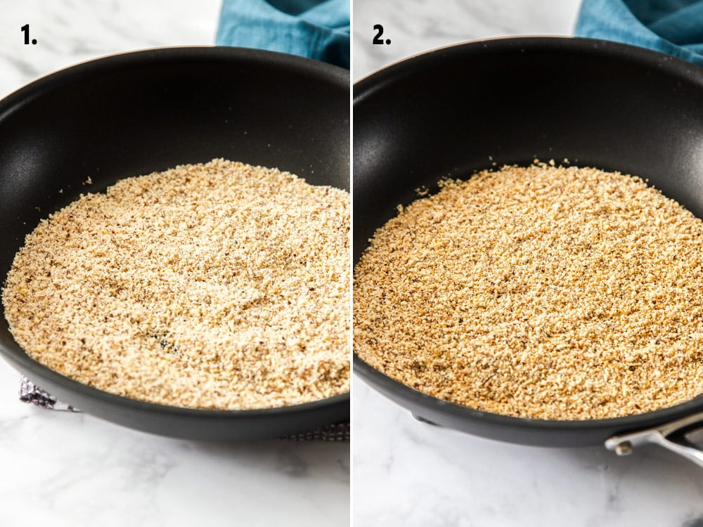 A black pan filled with ground hazelnuts. On the left they are shown raw and on the right they are shown toasted