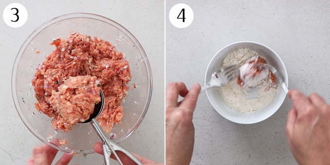 Coating balls of sausage meat in flour
