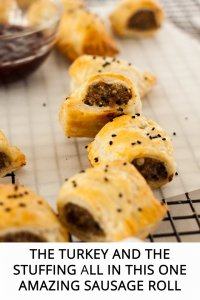 Stuffed Turkey Sausage Rolls are like Christmas dinner in a sausage roll (including the turkey), Give this easy recipe for making sausage rolls a try