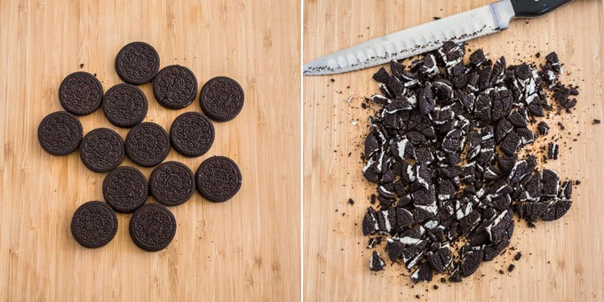 Oreos on a wooden board being cut up
