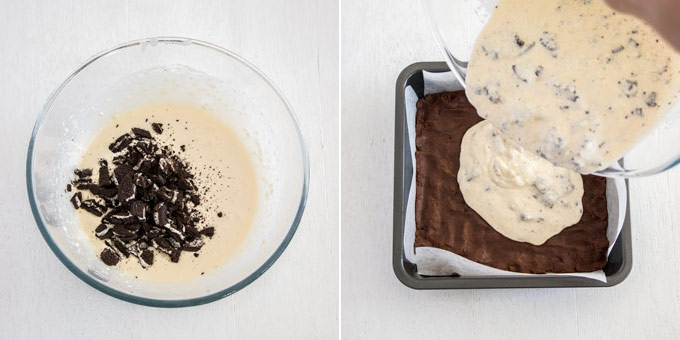 Oreos in a creamy mixture in a bowl, being poured over a cookie base