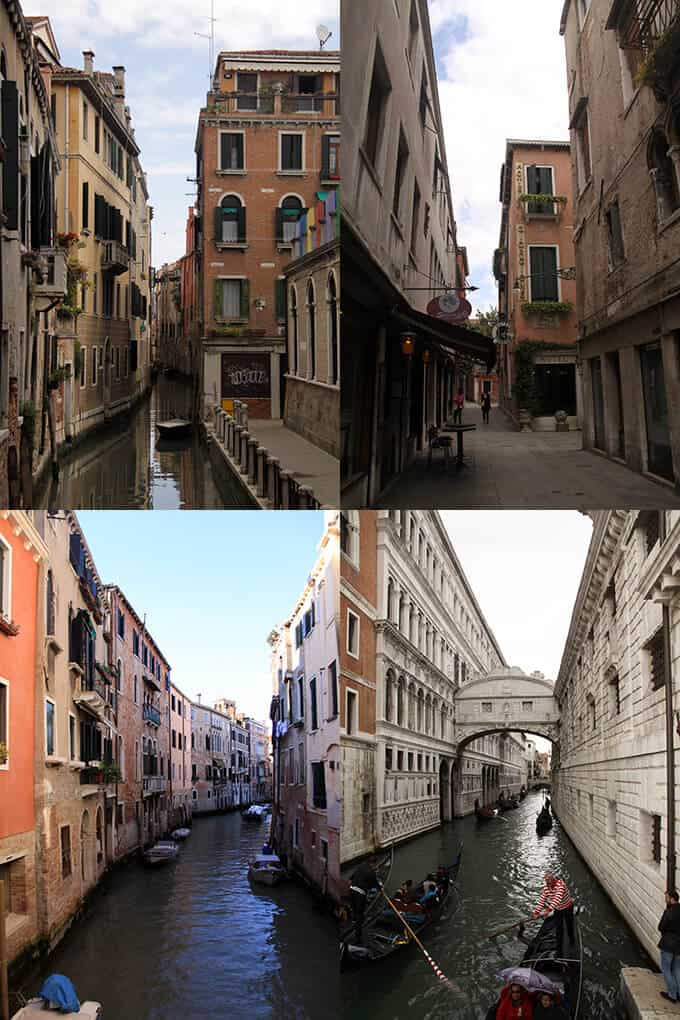 4 images in a collage of the buildings and canals in Venice