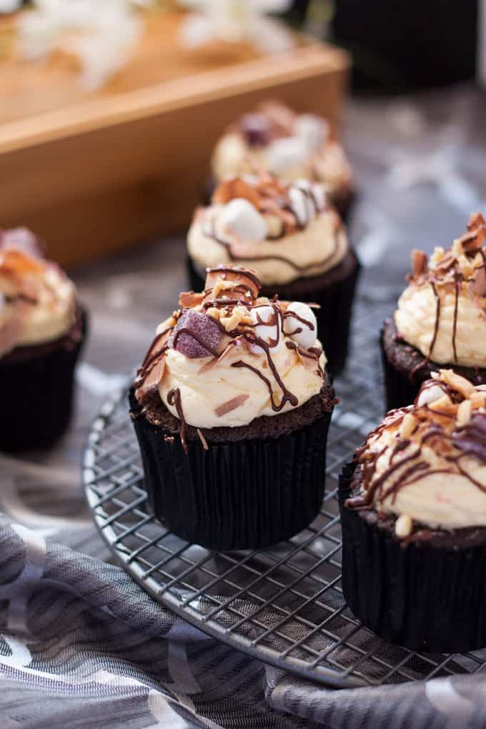 Loaded Rocky Road Cupcakes - Perfect Chocolate Cupcake, Dark Chocolate Ganache and Whipped Vanilla Buttercream Frosting