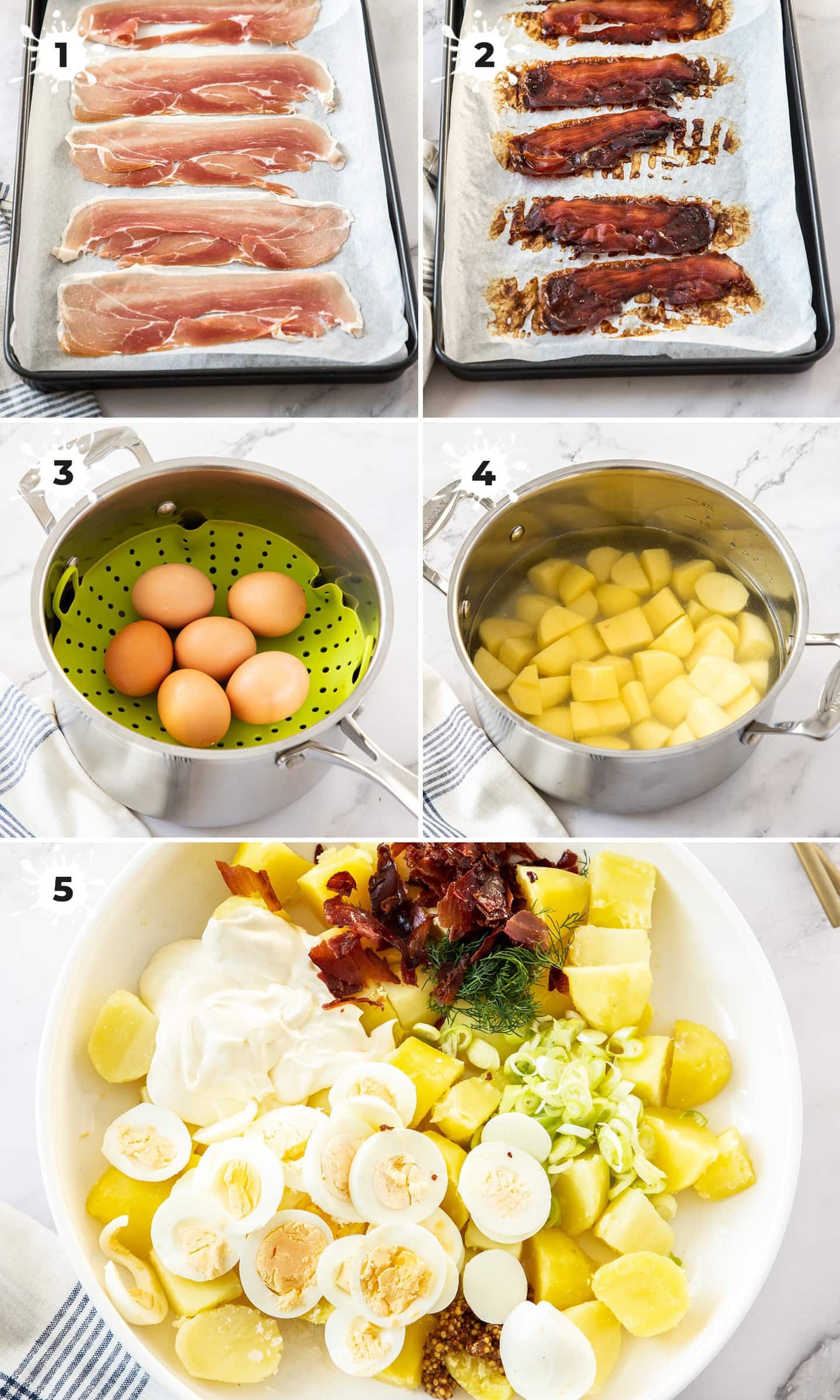 Steps showing how to make potato salad.