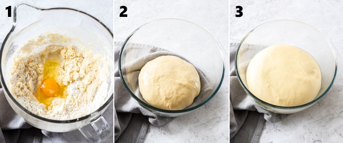 3 images showing cinnamon roll dough at different stages in a glass bowl
