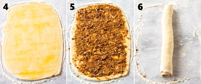 3 images showing cinnamon roll dough at different stages of filling