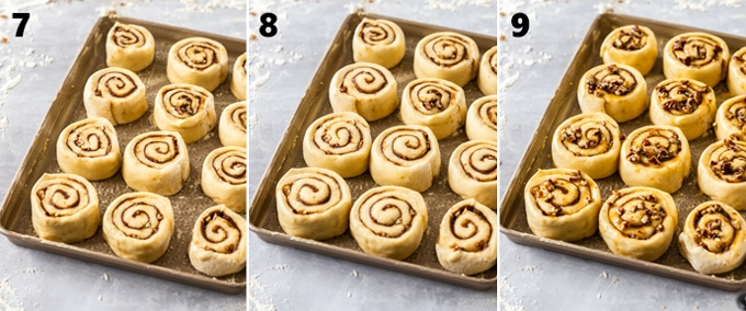 3 images showing cinnamon rolls at different stages on a baking tray