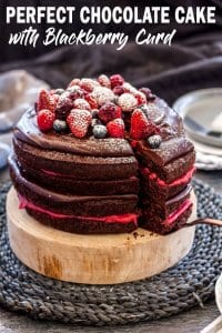 This Blackberry Chocolate Cake is 4 layers of soft and fluffy chocolate cake with chocolate ganache and Homemade Blackberry Curd. Just the perfect cake for a celebration. #sugarsaltmagic #chocolatecake #layercake #easychocolatecake #easycakerecipe #chocolate #chocolaterecipes #blackberries #blackberryrecipes #celebrationcake #birthdaycake #beautifulcake