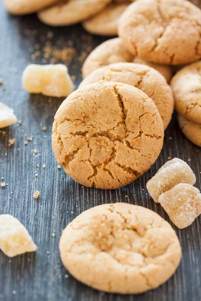 These perfectly Soft Chewy #Ginger #Cookies are filled with ground and candied ginger, then rolled in sugar right before they're baked.