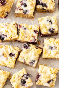Top down view of 12 lemon blueberry bars