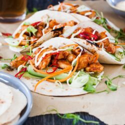 Spicy Korean Chicken Tacos - Chunks of Korean flavoured chicken pieces, fresh salad wrapped up in tortillas
