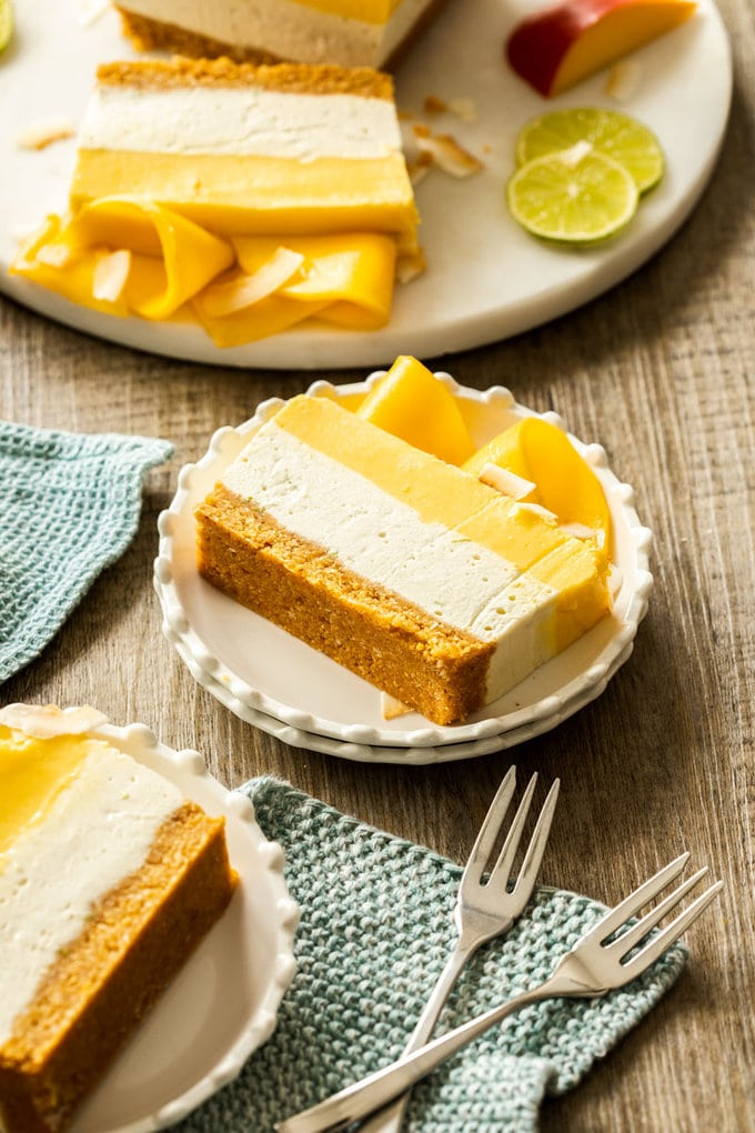 Mango Panna Cotta Coconut Cheesecake - a nobake cheesecake with layers of mango panna cotta and coconut cheesecake