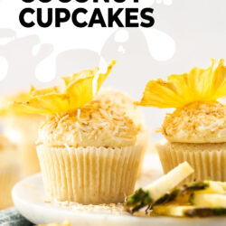 Closeup of a cupcake coated with coconut and topped with pineapple