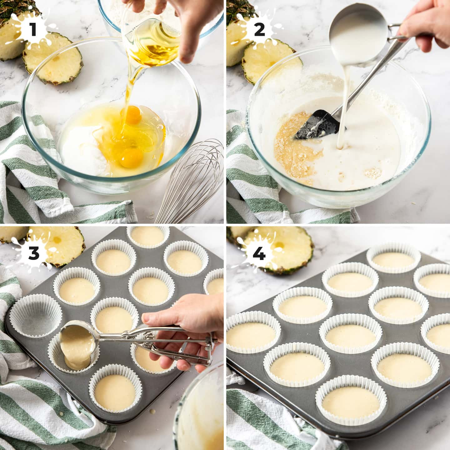 4 images showing the making of cupcake batter