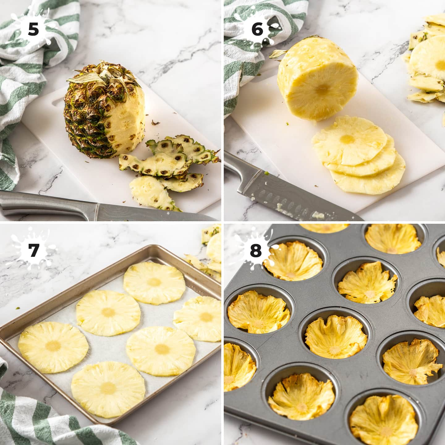 4 images showing how to make dried pineapple flowers