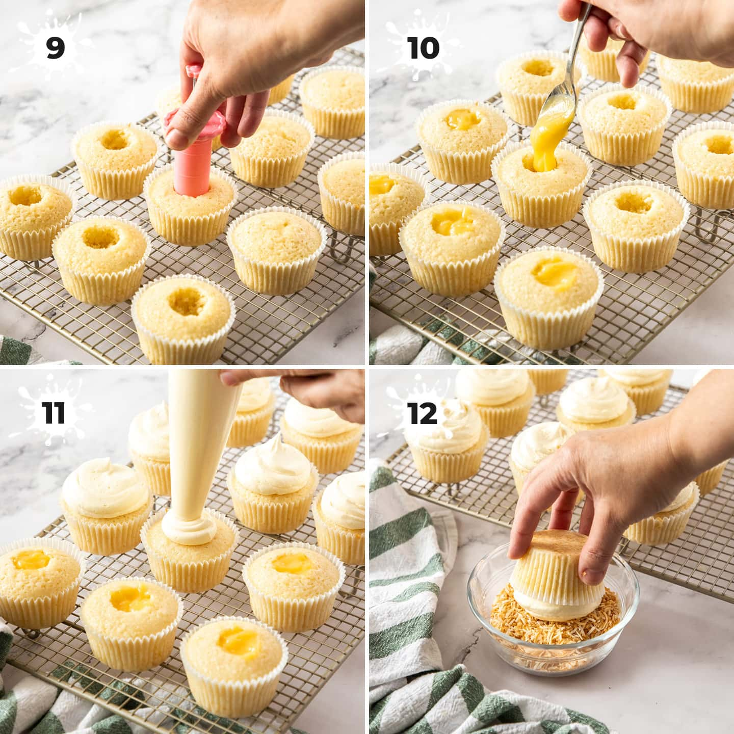 4 images showing how to fill and top cupcakes