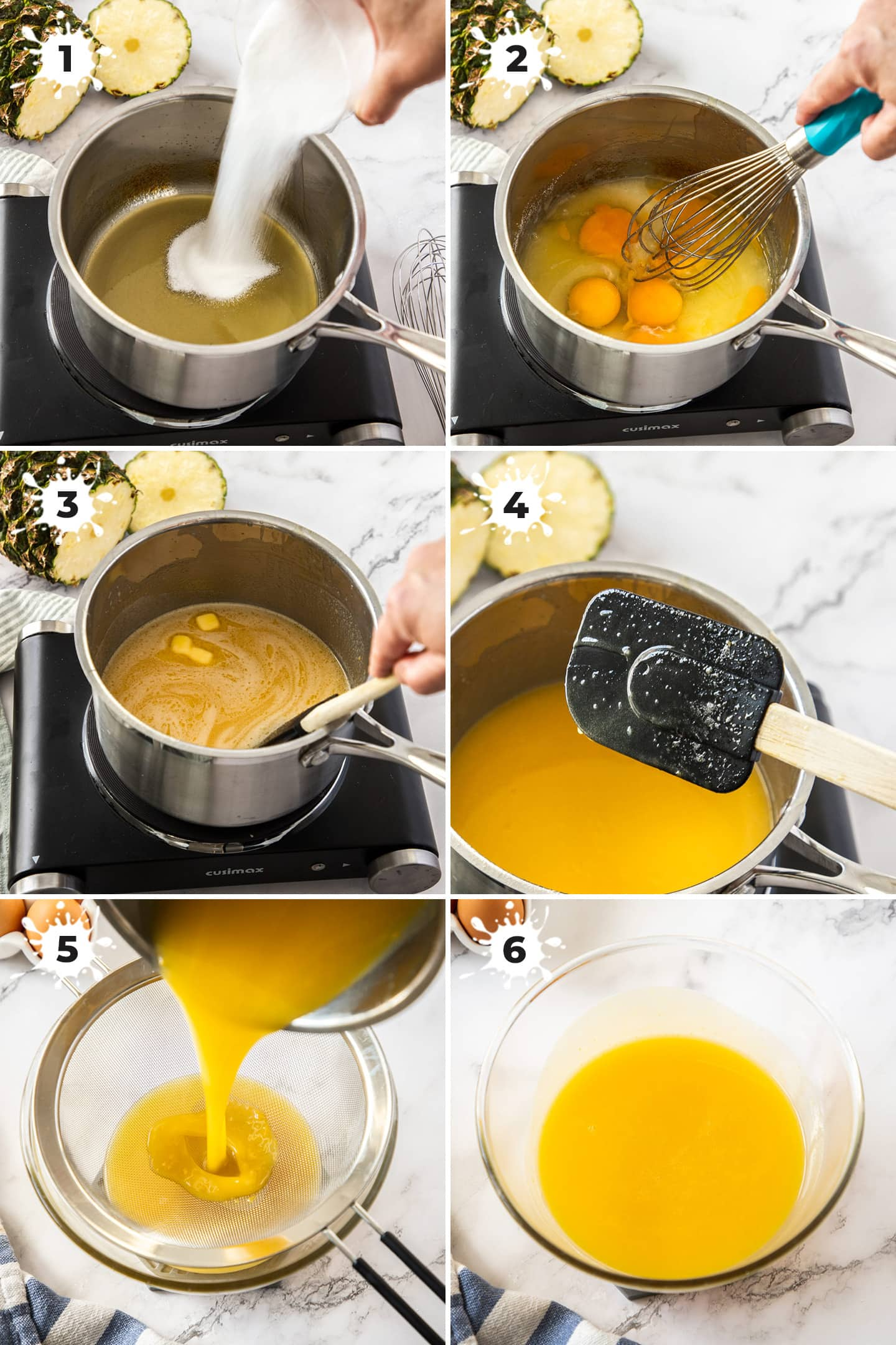 6 images showing how to make pineapple curd.