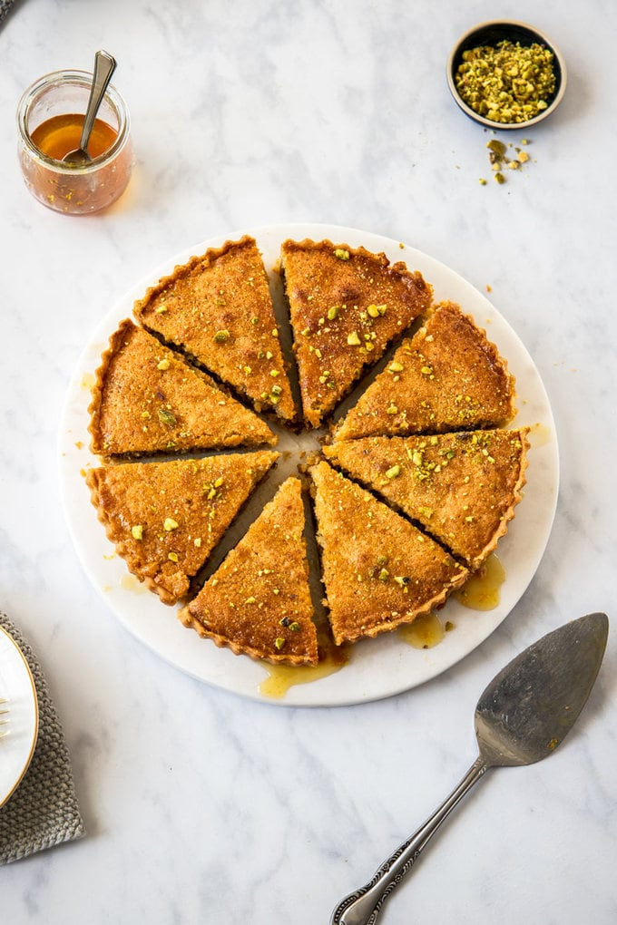 birdseye view of a baklava tart cut into 8 slices