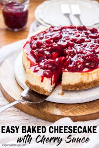 This easy Baked Cheesecake is smooth and creamy on the inside and topped with a luscious Fresh Cherry Sauce. #sugarsaltmagic #easycheesecake #cherries #cherryrecipes #cheesecakerecipes #bakedcheesecake #cherrycheesecake #christmasdesserts #christmasrecipes #christmasfood #cherrycheesecake