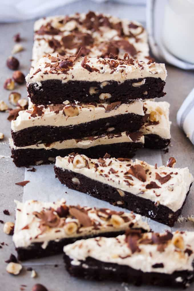 These Chocolate Hazelnut Brownies are dense, moist chocolate brownies, filled with hazelnuts and smothered in a layer of amazing hazelnut buttercream.