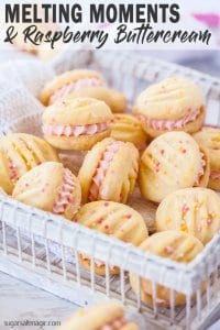 Melting Moments Cookies are a type of shortbread that melts in your mouth. These ones are filled with an easy Raspberry Buttercream. This is the best melting moments recipe EVER!