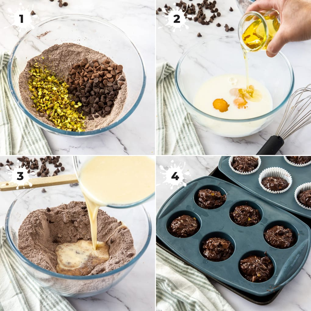 Images showing making the batter for chocolate muffins