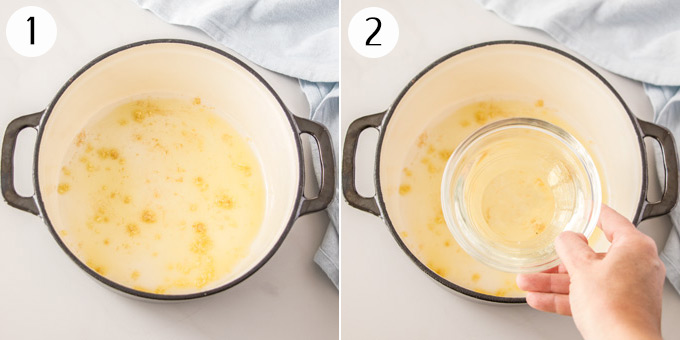 2 photos showing garlic being sauteed, then adding wine