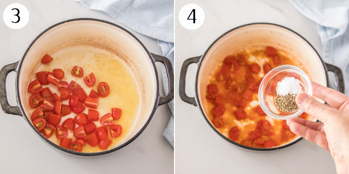 2 photos: Add tomatoes to a pan to saute, then adding salt and pepper.