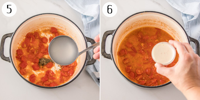 2 photos: Adding water and cream to a sauteed tomatoes
