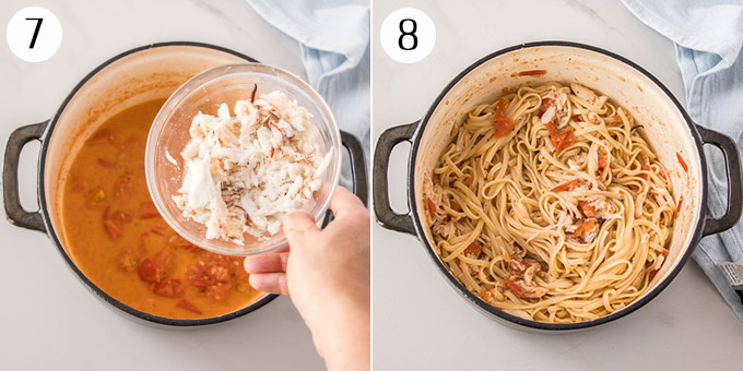 2 photos: Adding crab to pasta sauce then showing the pasta mixed with the sauce.