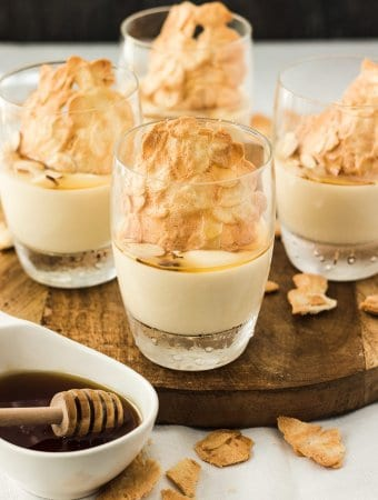 This Almond and Honey Pannacotta is filled with honey and almond flavour in a luscious, creamy yet light dessert. And pannacotta is so easy to make so this is perfect for a dinner party.