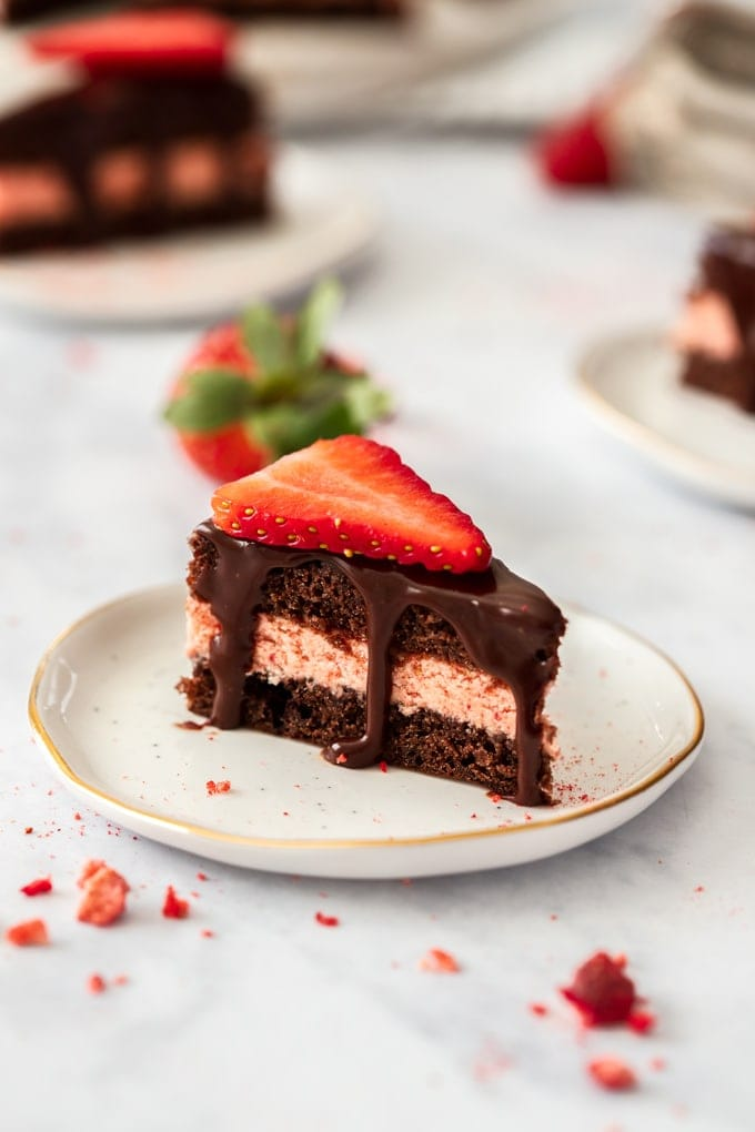 Closeup of a chocolate petit four with a slice of strawberry on top. Sitting on a white plate
