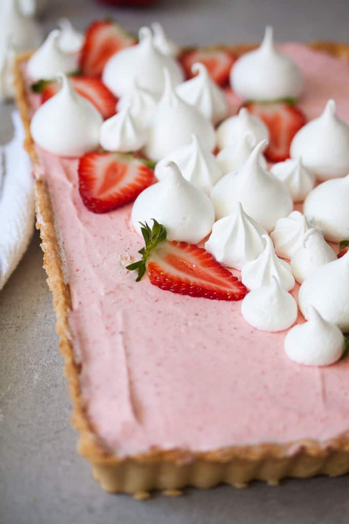 A close up shot of the strawberry mousse tart