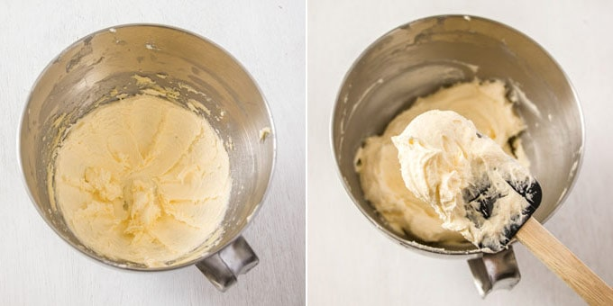 Beating together ingredients for ermine buttercream in a metal mixing bowl.