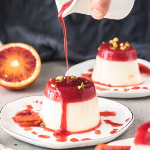 Buttermilk Panna Cotta is sweet and creamy but also a little tangy. A super quick and easy dessert, this one is topped with blood orange jelly.