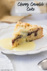This Easy Cherry Cake with Crumble Topping is a delightful afternoon tea cake topped with cherry jam and a crunch streusel topping