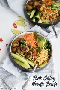 This Pork Satay Noodle Bowl uses pork meatballs and noodles all laced with an super tasty, homemade satay sauce.