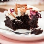 Black Forest Brownies - fudgy chocolate brownies with a layer of real cherries, whipped cream & easy homemade cherry jam.