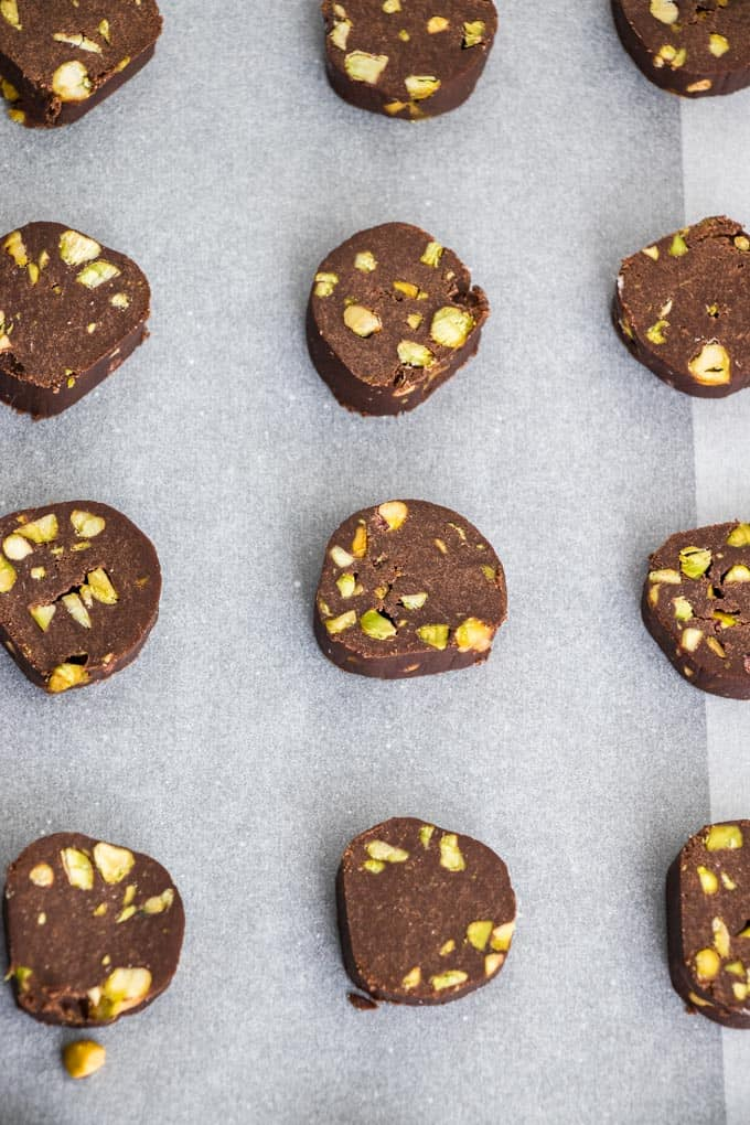 Chocolate Pistachio Cookies are simple slice and bake cookies that you can store in your freezer, then simply bake when required. A great holiday or anytime cookie.